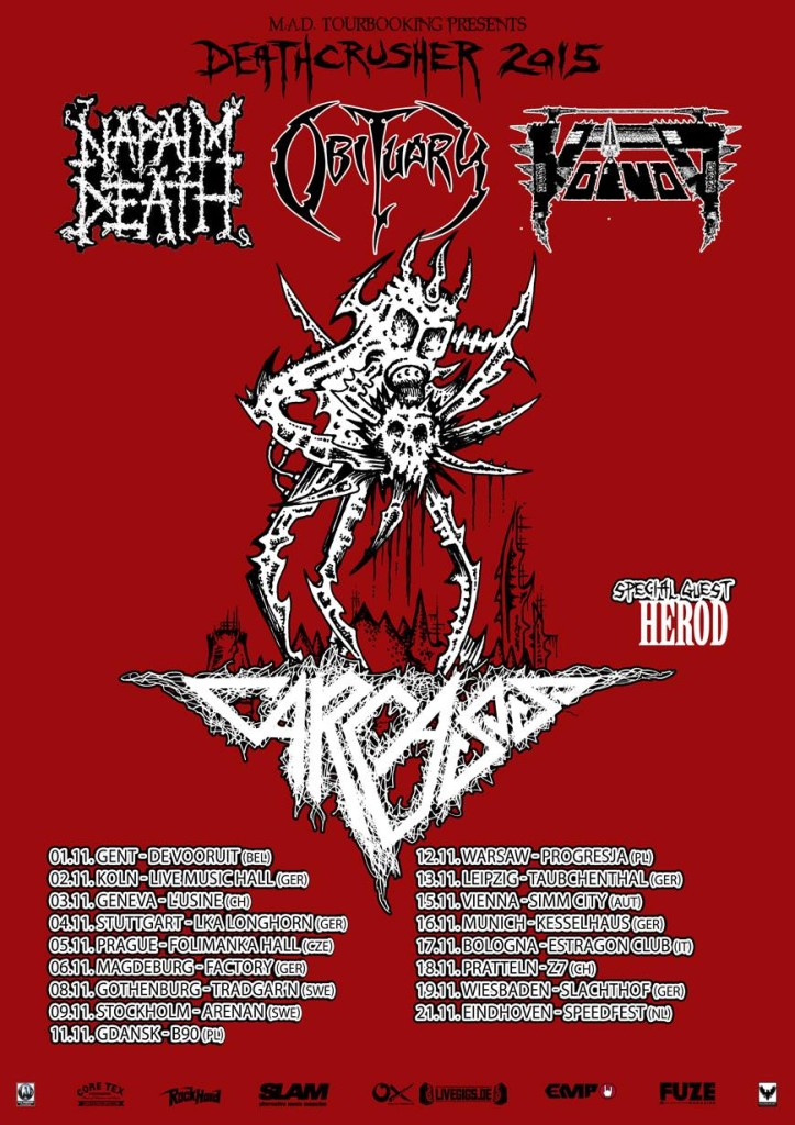 DeathCrusher tour – Carcass, Obituary, Napalm Death and Voivod @ Fryshuset, Nov. 9 2015